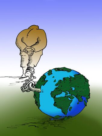 surety: Cartoon of man and planet earth - I am author of this illustration