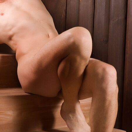 naked male: Naked male sitting on chairs in erotic posing