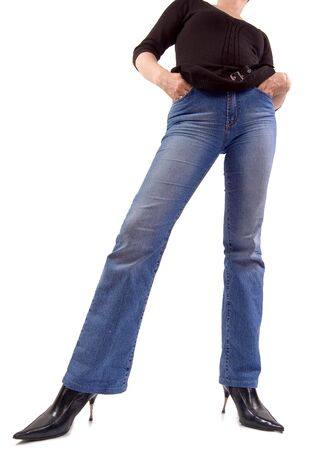 Front view of young girl in jeans, shot from frog perspective Stock Photo - 941823