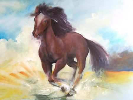 Horse jumping, this is oil painting on canvas and I am author of this image