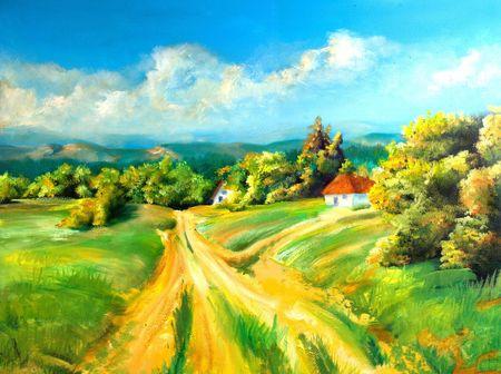 Zomer scène van het landschap, is dit olieverfschilderij en ik ben de auteur van deze afbeelding Stockfoto