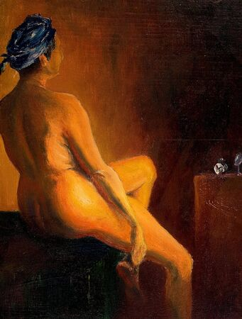 naked: Naked woman sitting, this is oil on canvas, painting art and I am author of this image