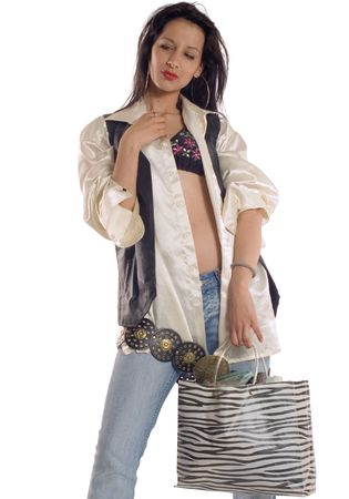 Attractive brunette girl holding bag  at shopping action Stock Photo - 959732