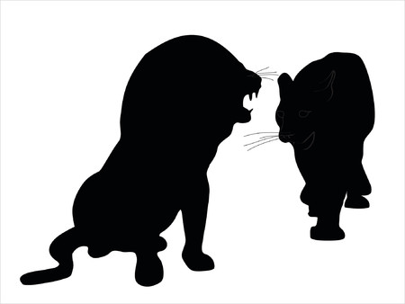 Illustration of wild animal, family of cats Vector
