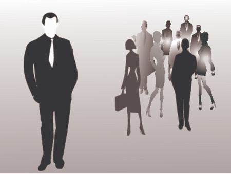 Silhouette of business people, winner business team Stock Vector - 1103642