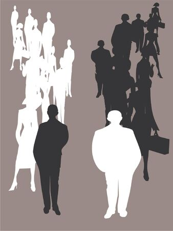 businessteam: Silhouette of business people, two teams, competition