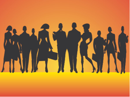 Silhouette of business people, winner business team Stock Vector - 1103646