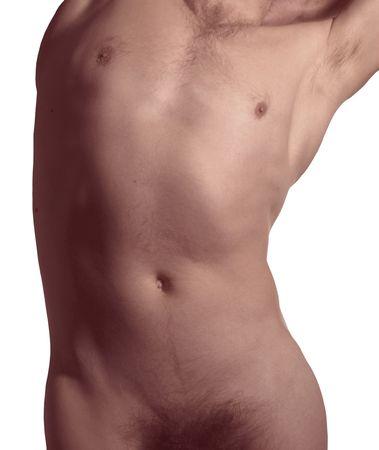 Muscular naked man torso
