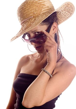 sunglassess: Portrait of a brunette fashion woman with hat and sunglassess