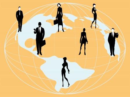 businessteam: Silhouette of business people, winner business team