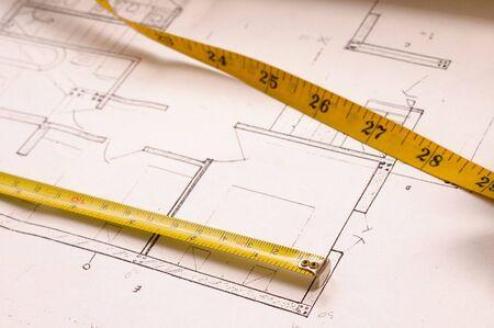 designe: Architecture planning of interiors designe on paper Stock Photo