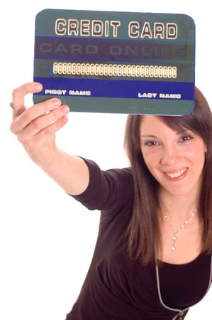 Young woman holding online credit cards, numbers on credit card are made up Stock Photo