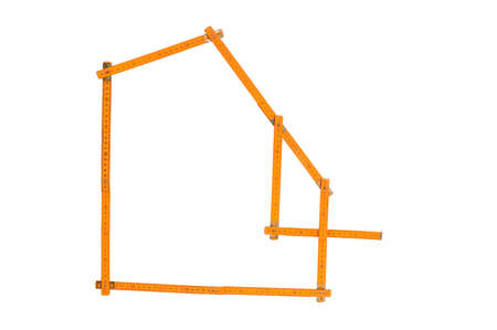 metre: Model buildings of wooden metre on white backgrounds