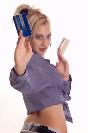 creditcards: Young woman holding credit cards for online payment Stock Photo