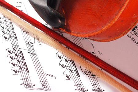 sonata: Detail of old violin instrument on music sheet
