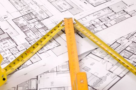 metre: Architecture planning of interiors designe on paper with metre