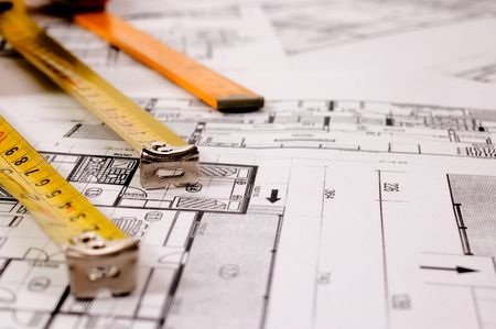 Architecture planning of interiors designe on paper with metre