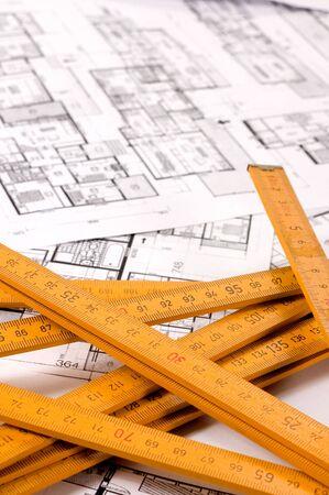 designe: Architecture planning of interiors designe on paper with metre