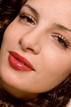 earnestly: Close up face of young beautiful girl Stock Photo