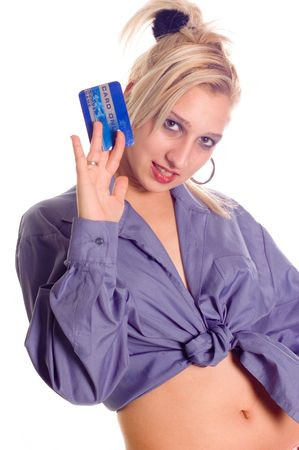 creditcards: Young woman holding credit card, numbers are made up