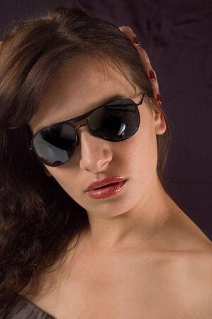 sunglassess: Portrait of beautiful young woman with sunglassess