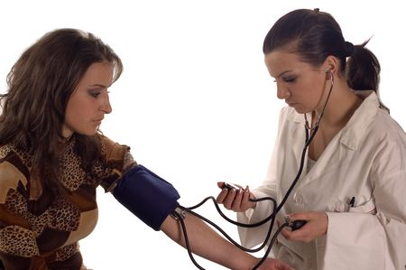 Female doctor examine blood pressure to pacient