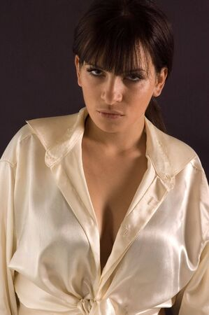 womankind: Fashion shot a young pretty brunette woman
