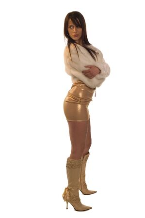 Beautiful young girl dressed at provocative clothing and high-boots     Stock Photo - 2318754