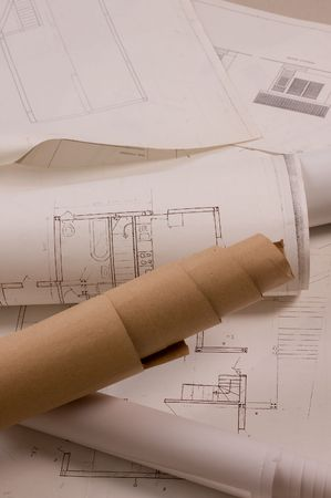 Architecture planning of interiors designe on paper Stock Photo