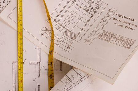 metre: Architecture designe planning of interiors with metre Stock Photo