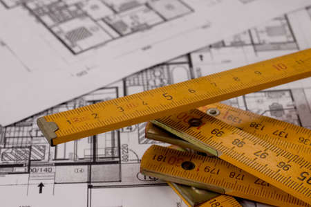 metre: Architecture planning of interiors with metre, metre is on focus