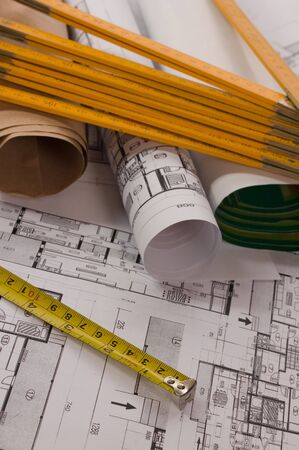metre: Architecture project of interiors with metre and scroll paper Stock Photo