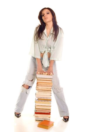 educating: Young student girl with books on white backgrounds Stock Photo