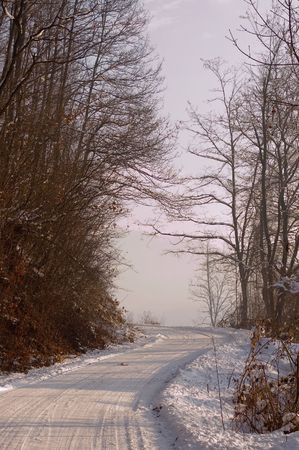 Road covered with frozen snow, photo is takeing in the morning photo