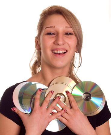 writable: Young blondie woman holding group of rewitable disk media