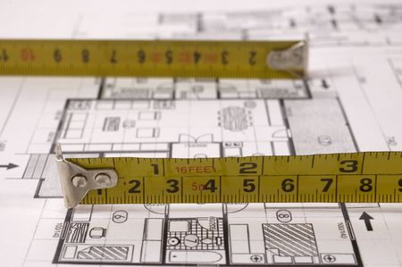 metre: Architecture project of interiors designe on paper with metre