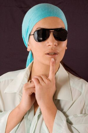 earnestly: Close up portrait of young girl with sunglasses and kerchief