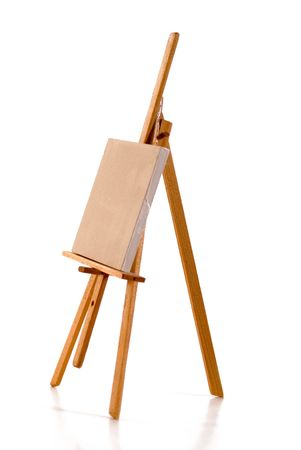 Blank linen canvas  for painting on painters easel Stock Photo