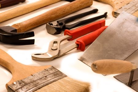 A group of tools objects on white backgrounds Stock Photo