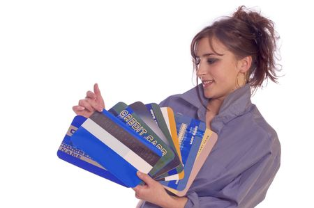 creditcards: Young woman holding large internet credit cards