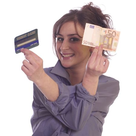creditcards: Young woman holding internet credit cards and euro paper money Stock Photo