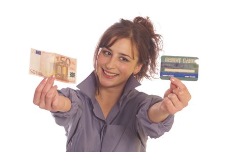 creditcards: Young woman holding internet credit cards and euro money