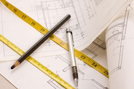 wooden metre: Architecture planning of interiors with pencils and metres