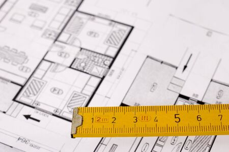 metre: Architecture planning of interiors designed on paper, focus on wooden metre