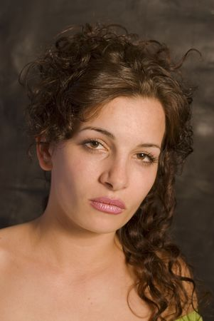 sensual lips: Portrait of a young woman with sensual lips  Stock Photo