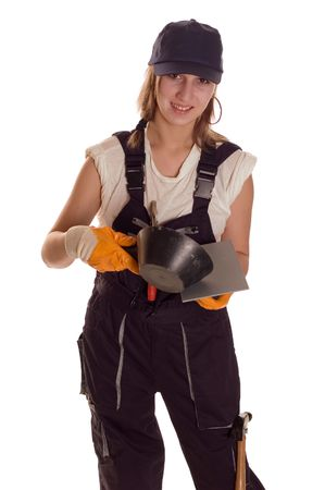 freemasonry: Young worker woman with tools for bricklaying Stock Photo