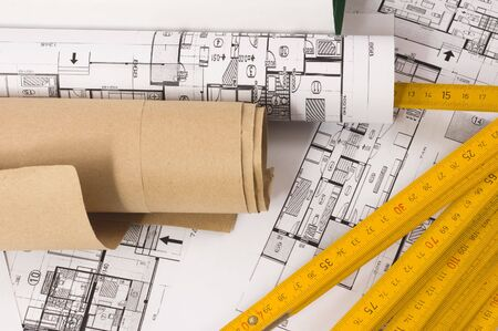 metre: Architecture planning of interiors with wooden metre