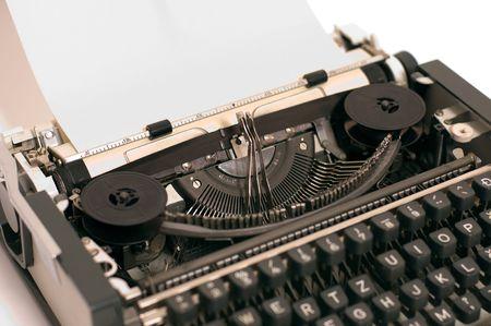 typebar: Jammeed typebar on standard typewriter with paper Stock Photo