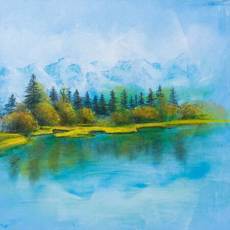 Summer scene of landscapes with river, this is oil painting and I am author of this image