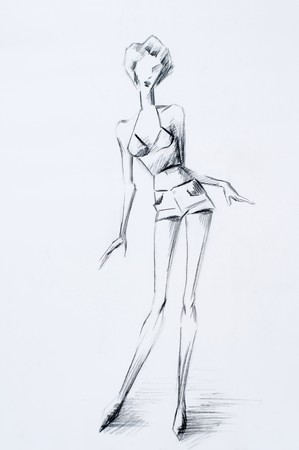 nude fashion model: Sketch women dressed in trendy fashion. Sketches are doing in pastel, pencil, oil and charcoal technique. My handly work